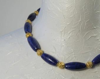 Lapis Lazuli and Gold Vermeil Necklace E 036