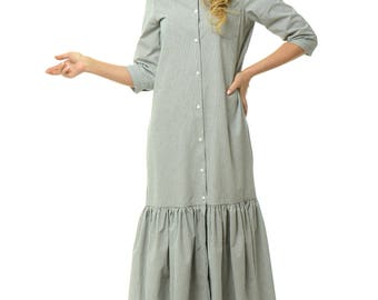 Cotton long dress in gray/white