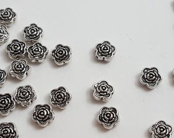 Silver Rose Shaped Beads 6mm 10pc