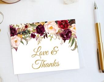 Wedding Thank You Card Custom Wedding Thank You Cards Faux Gold Foil Wedding Thank You Cards Vintage Gold Foil Wedding Cards Floral3