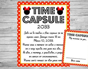Minnie Mouse Time Capsule Birthday Sign - Wall Art design - Birthday Party Poster Sign - Printable Sign