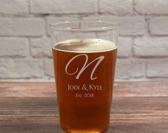Custom Beer Glasses, Personalized Beer Glass, Beer Glasses, Etched Beer Glass, Beer gift, Wedding Gift, Initial Beer Glass, Monogram Glass