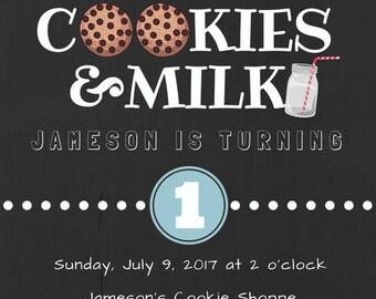Chalkboard Cookies and Milk Kids Birthday Party Invitation