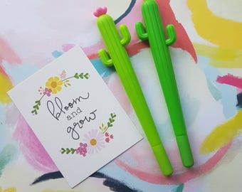 Flowering Cactus Gel Pen, Cactus, Cactus Gel Pen, Gel Pen, Cactus Stationery, Black Ink