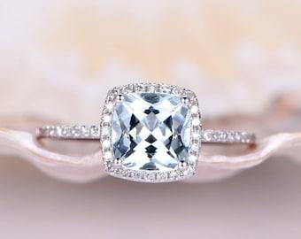 7mm Cushion Cut Aquamarine Engagement Ring 14k White Gold Ring Diamond Wedding Band Diamond Halo Gemstone Bridal Ring Anniversary Ring