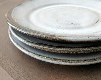 Stoneware Plate White, Ceramic Salad Plate, Handmade Plate, Modern Plate, Salad Plate, Dessert Plate, Stoneware Dinnerware