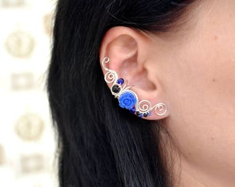 Clip on earcuff Shungite earrings Dark blue earrings Flower earrings Dainty earcuffs Flower jewelry Non pierced earcuff Silver earcuff