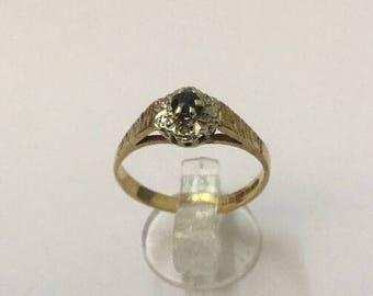 9ct Gold, Diamond & Sapphire Ring - Hallmarked - Size 6 (UK M)