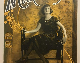Vintage sheet music I'm Cuckoo Over You. Love song 1920s flapper woman Sally Fields antique photograph cover Art Nouveau, give with a clock!
