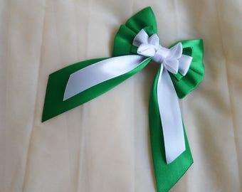 Hair bow - white and green -  harry potter slytherin  cute lolita harajuku victorian princess fashion kawaii costume prop - nekollars