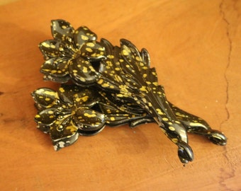 2 Black Flower Plastic Twist Barrette w/Gold Accents