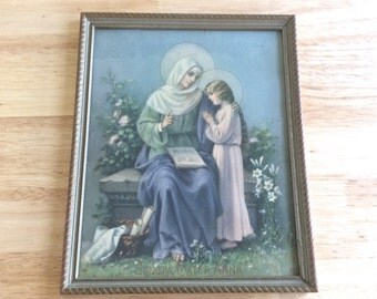 Vintage Catholic Wall Art: Framed St. Anne with Blessed Virgin Mary ~ 1960's Religious Lithograph