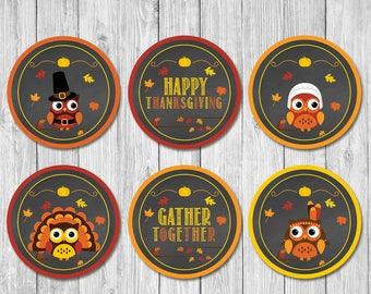 Thanksgiving Cupcake Toppers | Chalkboard Owls | Thanksgiving Party Stickers | Thanksgiving Party Toppers | Thanksgiving Pilgram Turkey Tags
