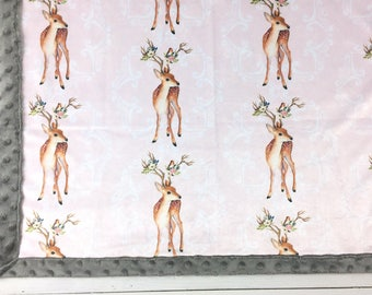 Baby minky blanket, pink floral deer blanket,  girl blanket, antlers woodland blanket, cuddle, baby shower gift, birth gift, adult size