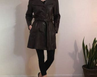 Vintage Chocolate Brown Leather Coat, Size Medium