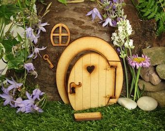 Opening Oval Wooden Fairy Door Craft Kit.  Three-dimensional Fully Opening Fairy Door with Fairy Window & Magical Key