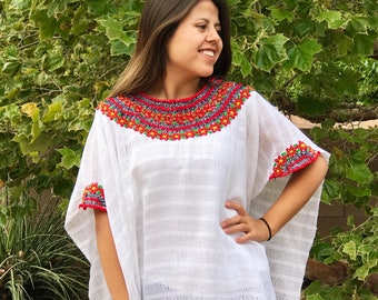Mexican handwoven & hand embroidered huipil 100% handmade in Chiapas Mexico
