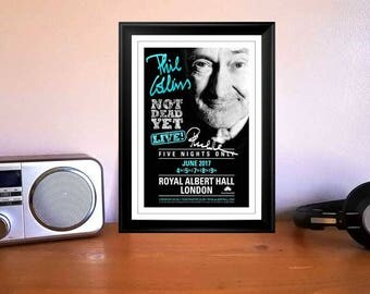 Phil Collins Not Dead Yet Tour 2017 Royal Albert Hall London Concert Flyer Autographed Signed Print