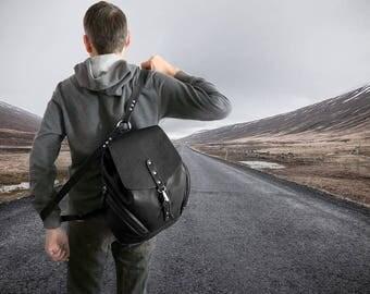 Leather backpack black travel purse large leather shoulder bag  big unisex backpack travelers gift cow leather rucksack men's knapsack