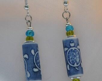 Sterling Silver  Earrings     Turtles / Porcelian Blue  Vintage  Beads    Handmade