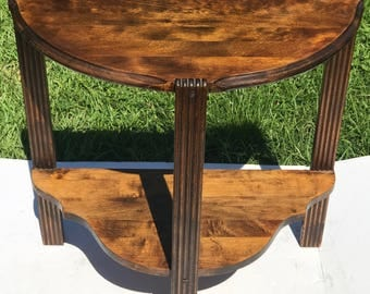 Half Moon Table, Wood Table,Flutted Legs, Small Accent Table, End Table, 2 Shelf Table