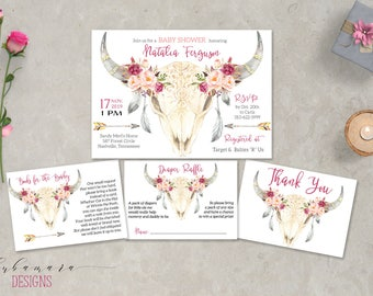 Deer Skull Baby Shower Invitation Set Tribal Pink Girl Baby Shower Invite Pink Floral Antlers Invitation Feathers Arrows Invitation - CS032
