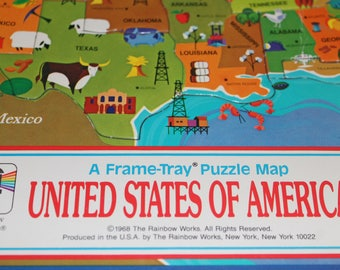 Usa map puzzle etsy united states of america vintage puzzle usa 1968 puzzle from the rainbow works a gumiabroncs Choice Image