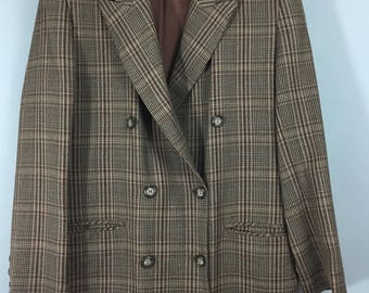 MARKS & SPENCER Vintage 1980s brown check wool double breasted long jacket 14 blazer
