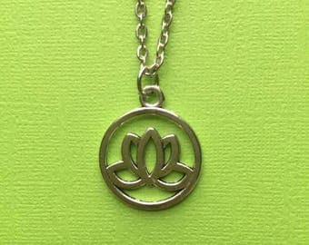 Silver Lotus Pendant Necklace, Lotus Flower Pendant Necklace, Lotus Necklace, Lotus Flower Necklace, Simple Silver Necklace, Yoga, Namaste