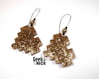 Geeky pixel glitter gold heart earrings