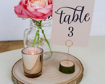 Wooden Table Number Holders, Table Name Holders, Place Card Holders, Menu Holders, Rustic Wedding Decoration, Copper Wire, FREE UK SHIPPING