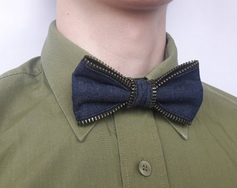 Navy blue Bow tie Zipper bow tie Denim bow tie Blue bow ties Jeans bow tie Wedding bow tie Man bow tie Tie Photo props Bow tie for man