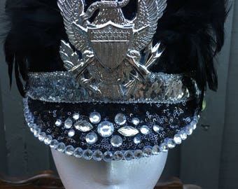 Black and Silver Marching Hat