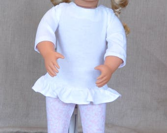 "Clothes for 18"" dolls. Tunic and leggings outfit for 18"" dolls including American Girl."