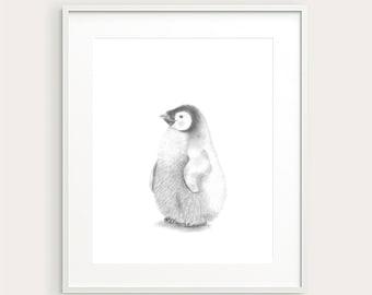 Penguin.Nursery Decor. Baby Animal. Nursery Art. Baby's Room Decor. Baby Penguin. Animal Drawing. Kid's Wall Art. Kid's Decor. Baby Art.