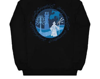 A Wise Man's Journey HOODIE GANDALF Lord of the Rings LotR Nerd Grey White Wizard Dragon Fantasy Fellowship Return King Two Towers Geek