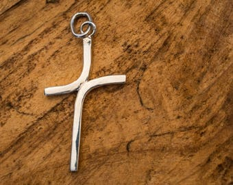 Handcrafted Simple Clean Sterling Silver Cross