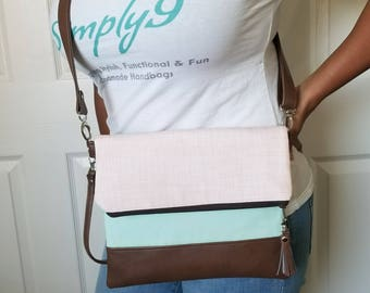 Pink Green Crossbody Bag, Mint Crossbody, Faux Leather, Crossbody Purse, Clutch Purse, Wristlet Purse, Shoulder Bag, Gift for her