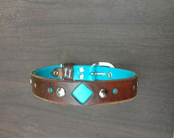 Genuine Leather Designer Dog Collar Size M-XL - Multiple Color Options Available