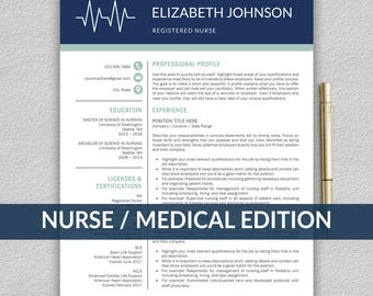 Nurse Resume Template for Word / Medical Resume | Nurse CV Template | RN Resume | Doctor Resume | Doctor CV | Resume Template