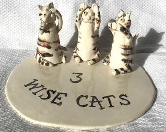 Three Wise Cats - Ornament - Figurine - Ceramic Cats- Pottery Cats