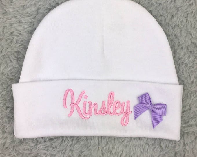 Personalized baby girl hat w/ bow - micro preemie hat, preemie hat, newborn beanie - baby shower gift, preemie gift NICU clothes baby photos
