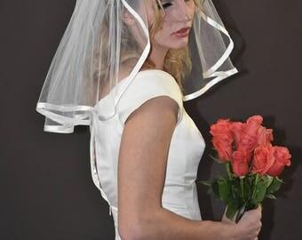"18"" Flyaway Wedding Veil with 3/8"" Folded Satin Ribbon Edge"