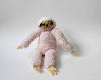 Suzie the Sock Sloth | Handmade, Soft Toy, Birthday Gift, pink socks, keep sake, personalised monkey, baby shower, Sloth gift, keep sake