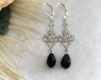 Black Drop Earrings, Black Jewelry, Black Earrings, Silver Drop Earrings, Black and Silver Drop Earrings, Vintage Inspired Earrings