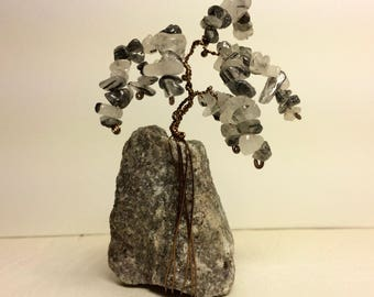 Small Gemstone Tree - Tourmaline Quartz on a Mica-flecked Base