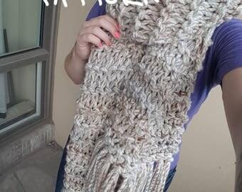 KNITTING PATTERN -The Bamfield Scarf //Chunky fringed blanket scarf, knit scarf, tassels, giant scarf, blanket scarf//