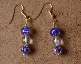 Venezia collection: sophisticated and original earrings in Midnight blue and gold murano glass beads.