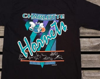 Vintage 90's Charlotte Hornets Fruit of the Loom Made in USA large t-shirt