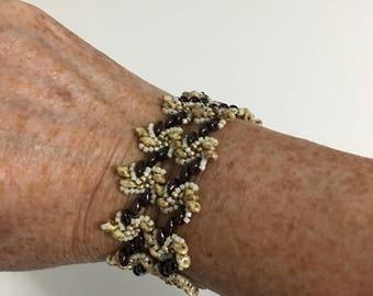 Bracelet - Brown, beige, cream and gold spirals